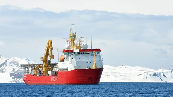 HMS Protector Arrives In The Antarctic