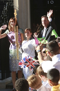 kate Nesbitt at No10 with the Olympic Torch
