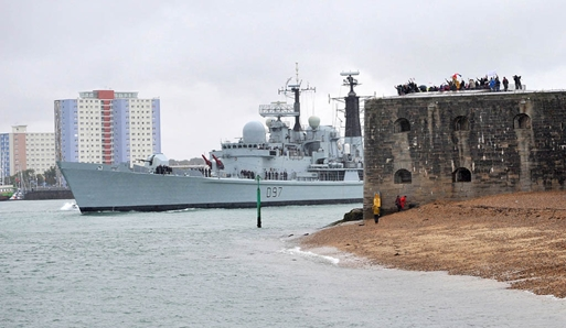 HMS Edinburgh Leaving Portsmouth
