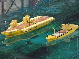 Navys new carrier practises crucial refuelling using scale models