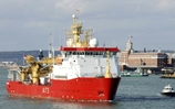 HMS Protector sailing from Porstmouth Naval Base