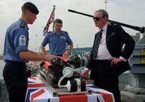 Lord Astor gets introduced to SeaFox aboard HMS Quorn