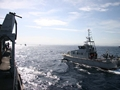 Algerian Patrol Boat, Al Mirfak, conducts drills alongside HMS Cattistock