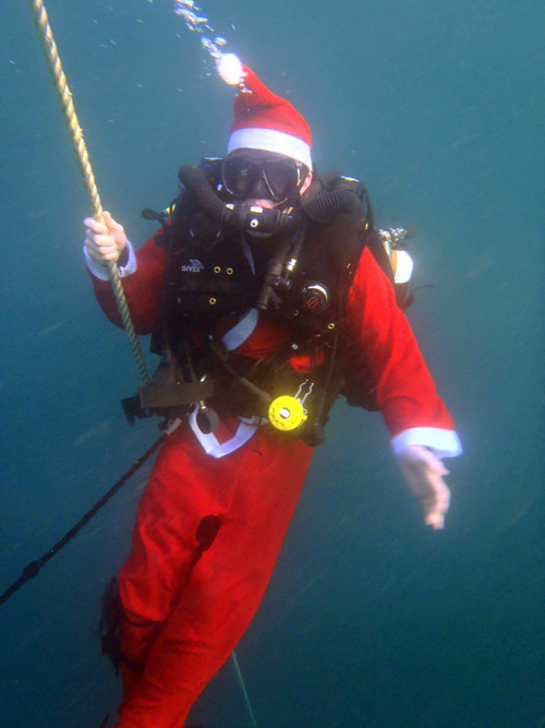 A festive costume for one of HMS Ramsey's divers