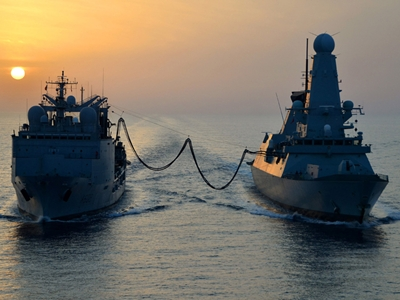 HMS Diamond stocks up for second half of deployment