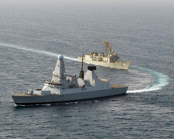 HMS Diamond joins HMAS Melbourne East of Suez