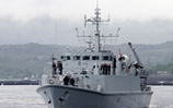 HMS Blyth leaves the Clyde to join NATO task force