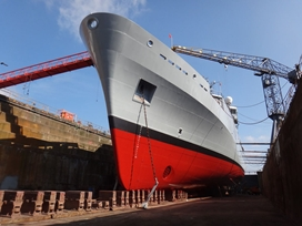 Royal Naval survey ship leaves dry dock