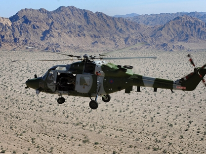A Lynx Mk9A over the Colorado Desert near El Centro