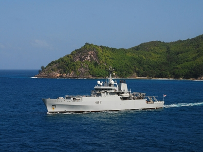 HMS Echo off the Seychelles earlier this year