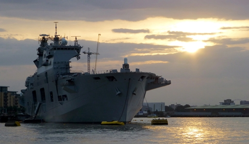 HMS Ocean leaves London on Completion of Olympic security mission