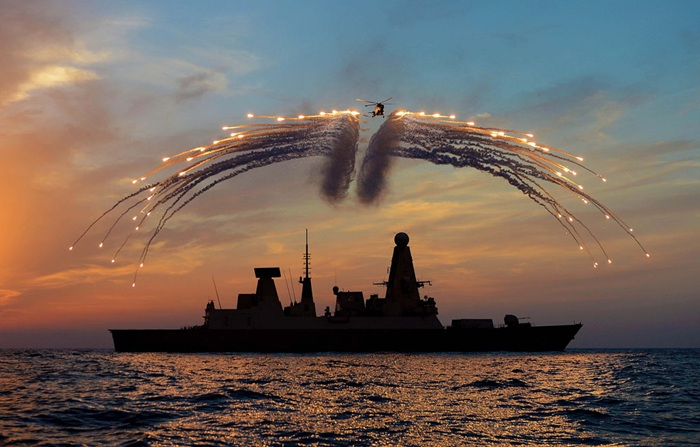 Royal Navy Lynx lights up Mediterranean sunset