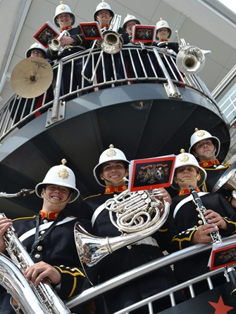 Royal Marines School of Music entertain shoppers at Gunwharf Quays