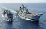 HMS Illustrious refuels at sea for Cougar 13