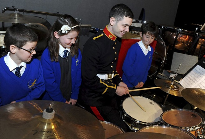 Royal Marines school of music at concert for schools in Portsmouth