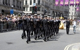 Royal navy sailors march for London Pride