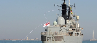 HMS Liverpool home to Portsmouth for the last time