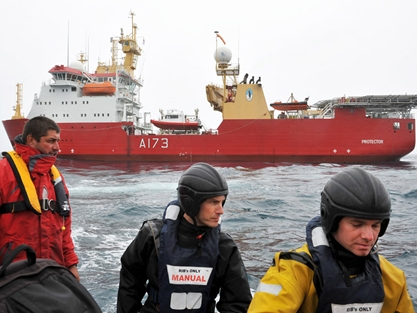HMS Protector visits Tristan da Cunha