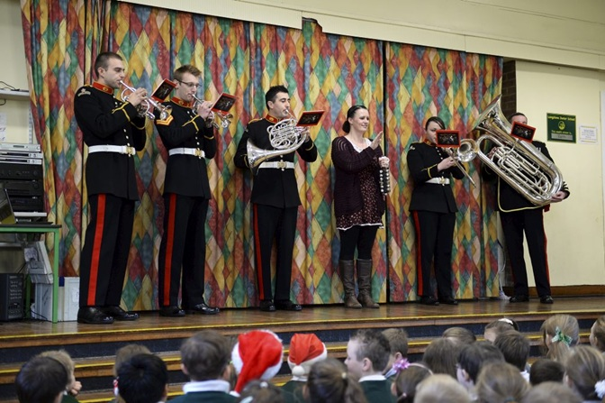 Royal Marines musicians bring festive treat to schools in Portsmouth