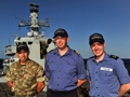 Lieutenant Cdr Craig 'Engines' Wharrie, Leading Seaman Adam 'Pixie' Helsby and Able Seaman Jimmy Clements