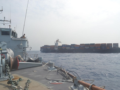 HMS Pembroke and HMS Middleton provide security cordon for MV New Dehli Express