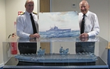 Watercolour of wartime warship presented to modern successor