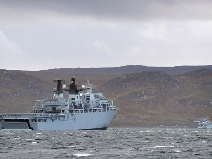 HMS Bulwark during Joint Warrior in October 2011