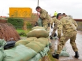 Royal Marines build up Gloucester flood defences