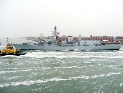HMS Lancaster sets sail from Portsmouth