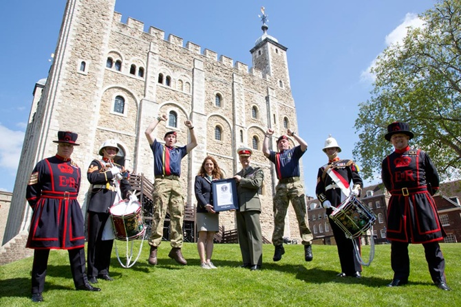 THE ROYAL MARINES CORPS OF DRUMS SET A NEW GUINNESS WORLD RECORD