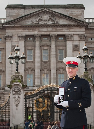 Royal Marine Mark Williams with his Military Cross