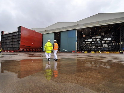 Giant piece of the HMS Queen Elizabeth jigsaw slots into place